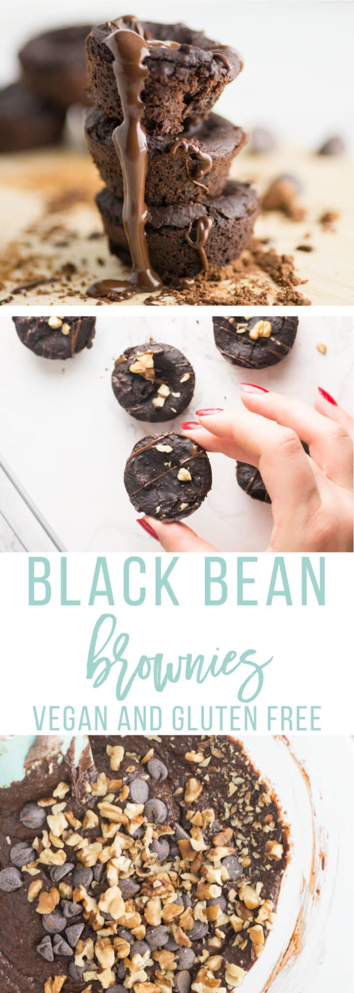 Vegan Black Bean Brownies -- Introducing black bean brownies that are a healthy spin on the chocolatey dessert. This brownie recipe is totally gluten-free thanks to the black beans. You won\'t believe these brownies are vegan, gluten-free, AND refined sugar-free because these bite-sized brownies are so fudgy, chocolatey, and decadent! #vegan #baking #healthy #desserts #cleaneating | mindfulavocado