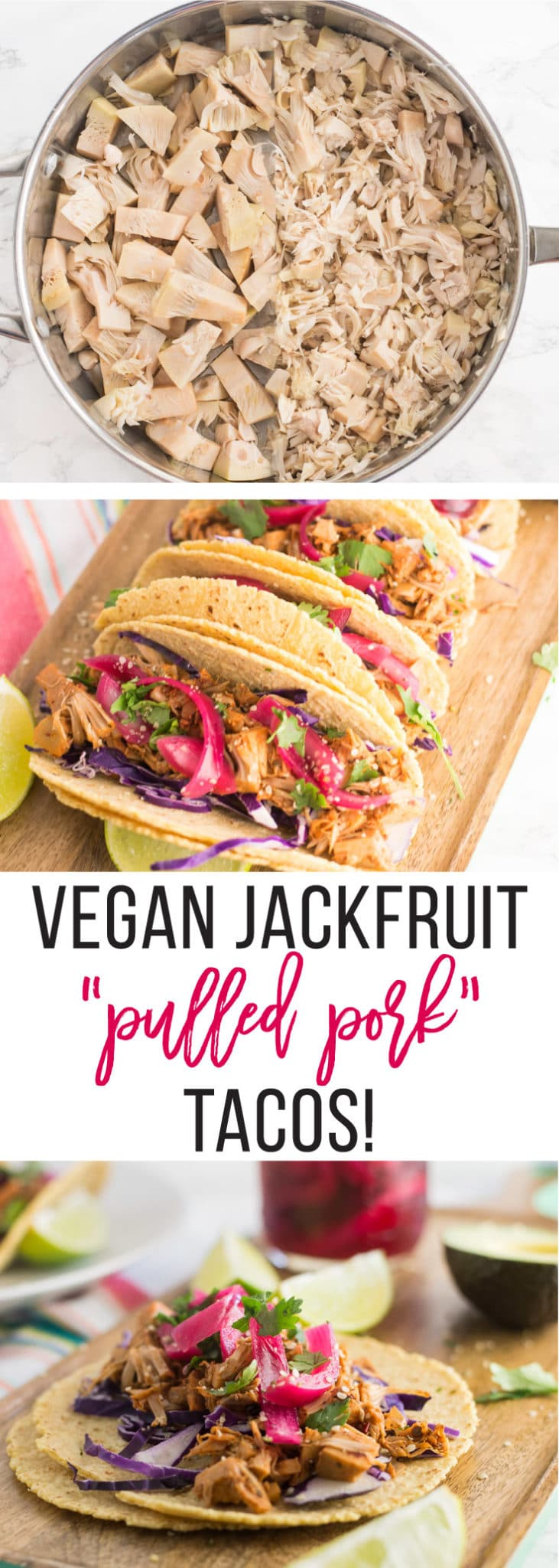 Vegan Jackfruit Pulled Pork Tacos -- These tacos are  PERFECT for a vegan dinner recipe. Get ahold of some canned jackfruit for a plant based