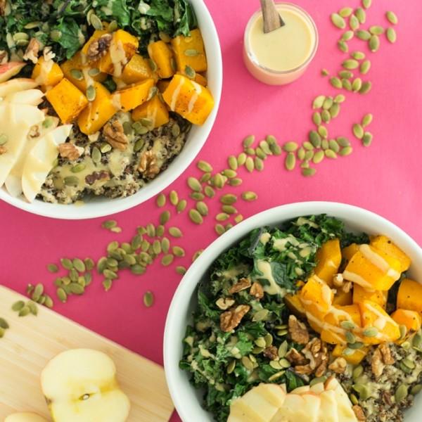 vegan and gluten free quinoa bowls on pink background