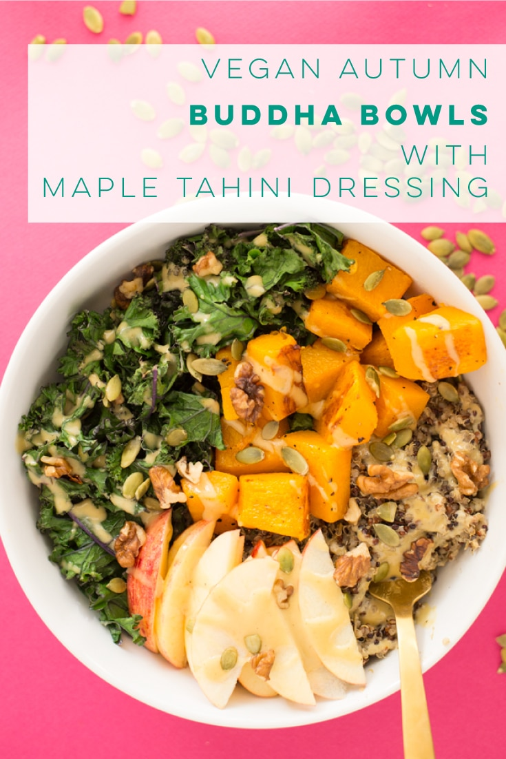 Fall Buddha Bowls -- These vegan and gluten-free bowls are FULL of Fall flavor! Herbed quinoa, roasted squash, and kale with apples, walnuts, pepitas, and a delicious maple tahini dressing. Perfect for a healthy lunch or dinner. #buddhabowls #vegan #glutenfree #grainbowls #quinoabowls | Mindful Avocado