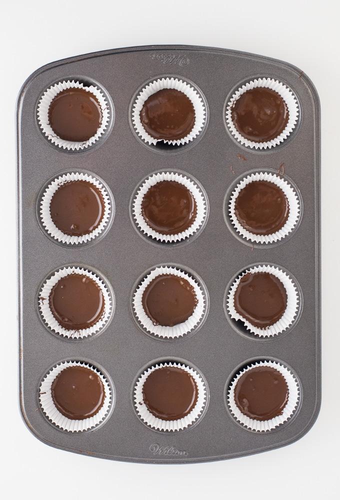 chocolate in mini cupcake tin