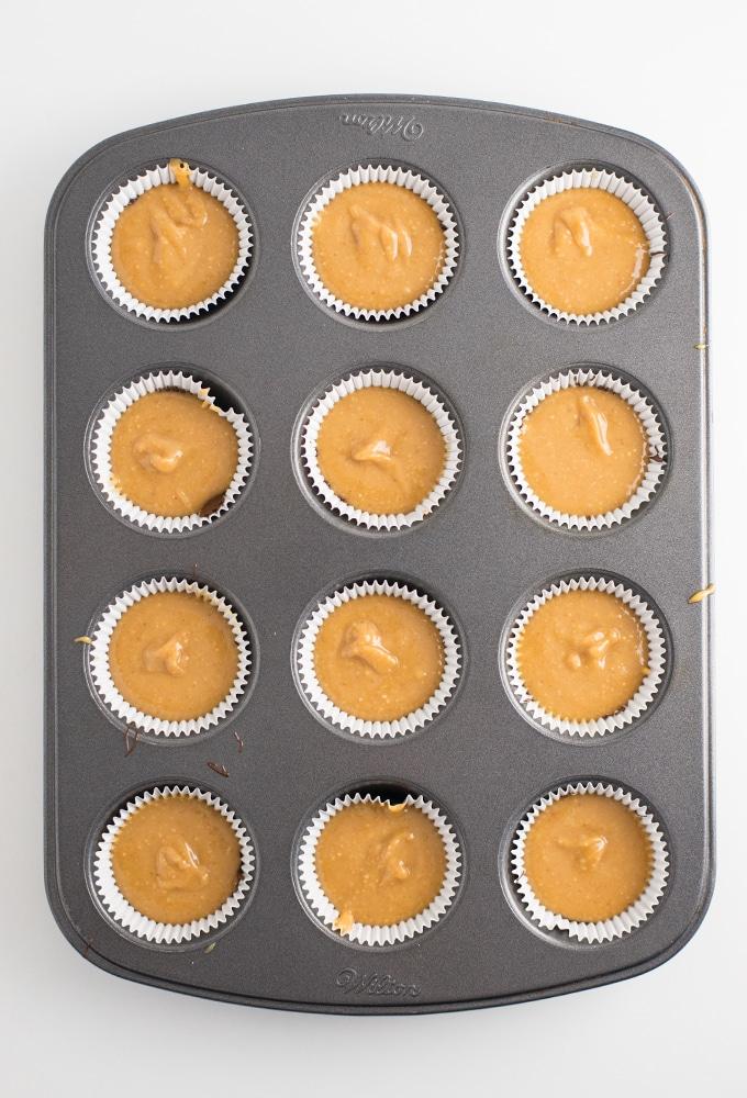 how to make homemade reeses - peanut butter in mini cupcake tin