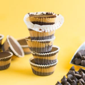 stack of vegan homemade chocolate peanut butter cups