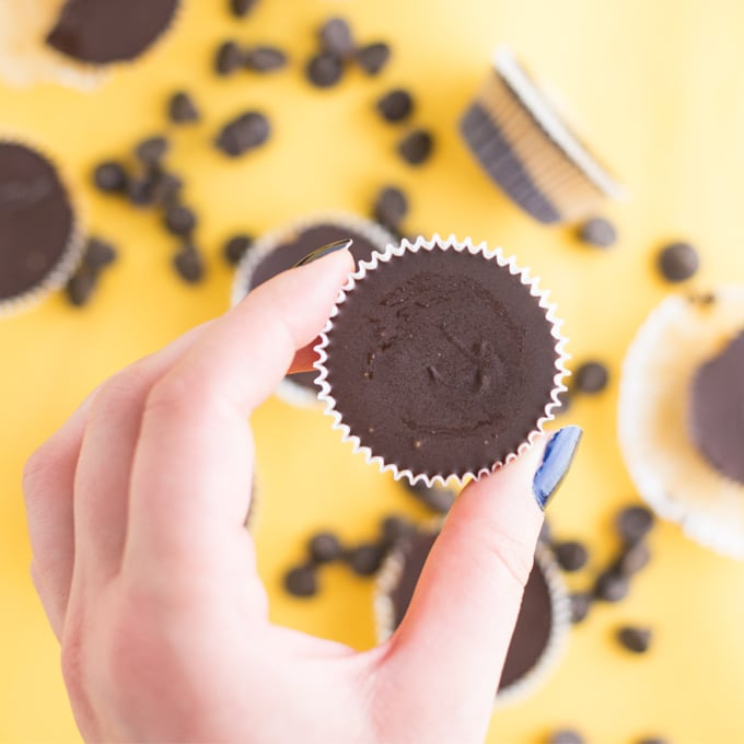 hand holding homemade chocolate peanut butter cup