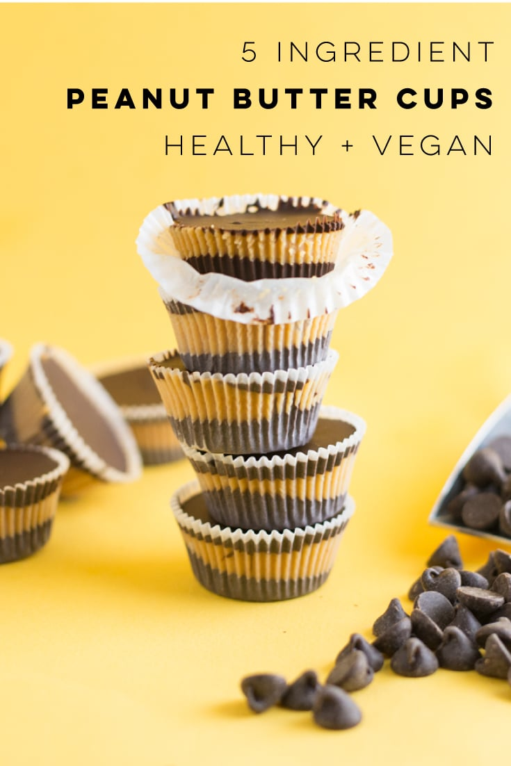 Vegan Reeses are the BEST for chocolate and peanut butter lovers! This healthy dessert recipe only requires 5 ingredients to make homemade pb cups! #vegan #vegandessert #veganpeanutbuttercups #chocolate #peanutbutter #homemadereeses | Mindful Avocado