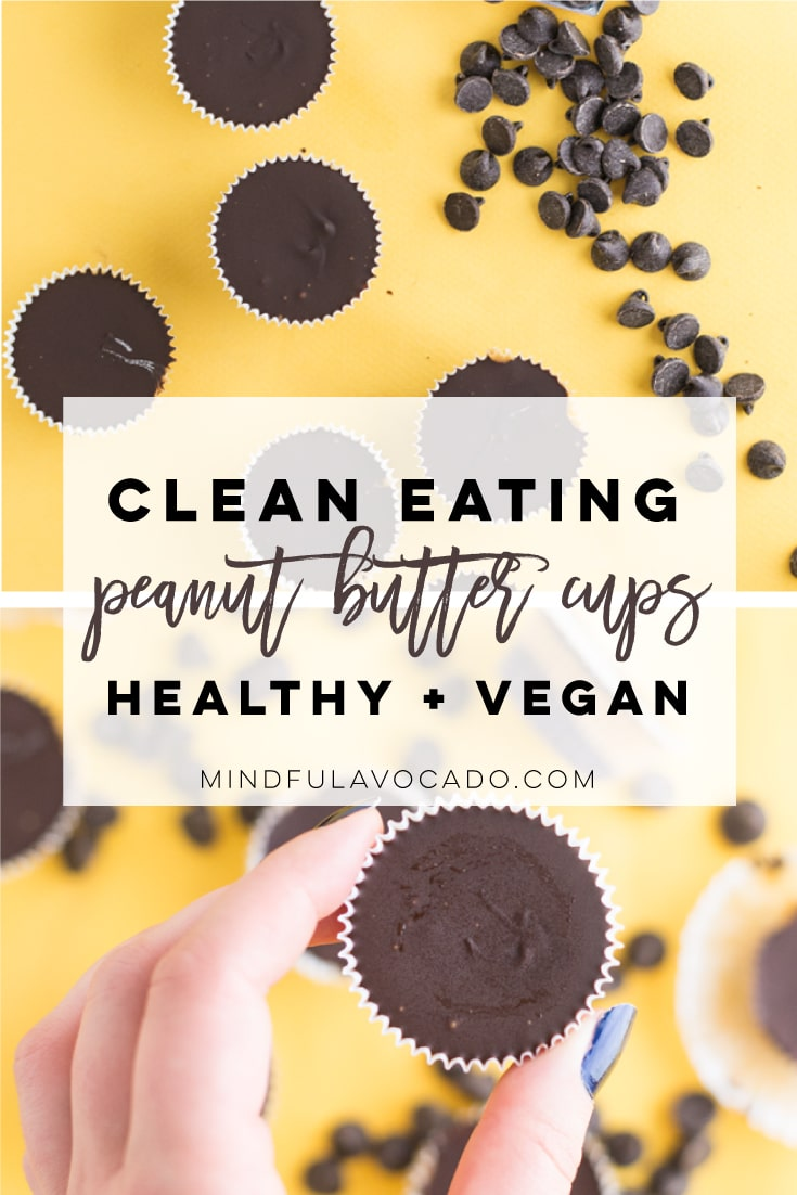 These vegan chocolate peanut butter cups are the PERFECT homemade Halloween candy! So simple to make and healthy! #vegan #vegandessert #veganpeanutbuttercups #chocolate #peanutbutter #homemadereeses | Mindful Avocado