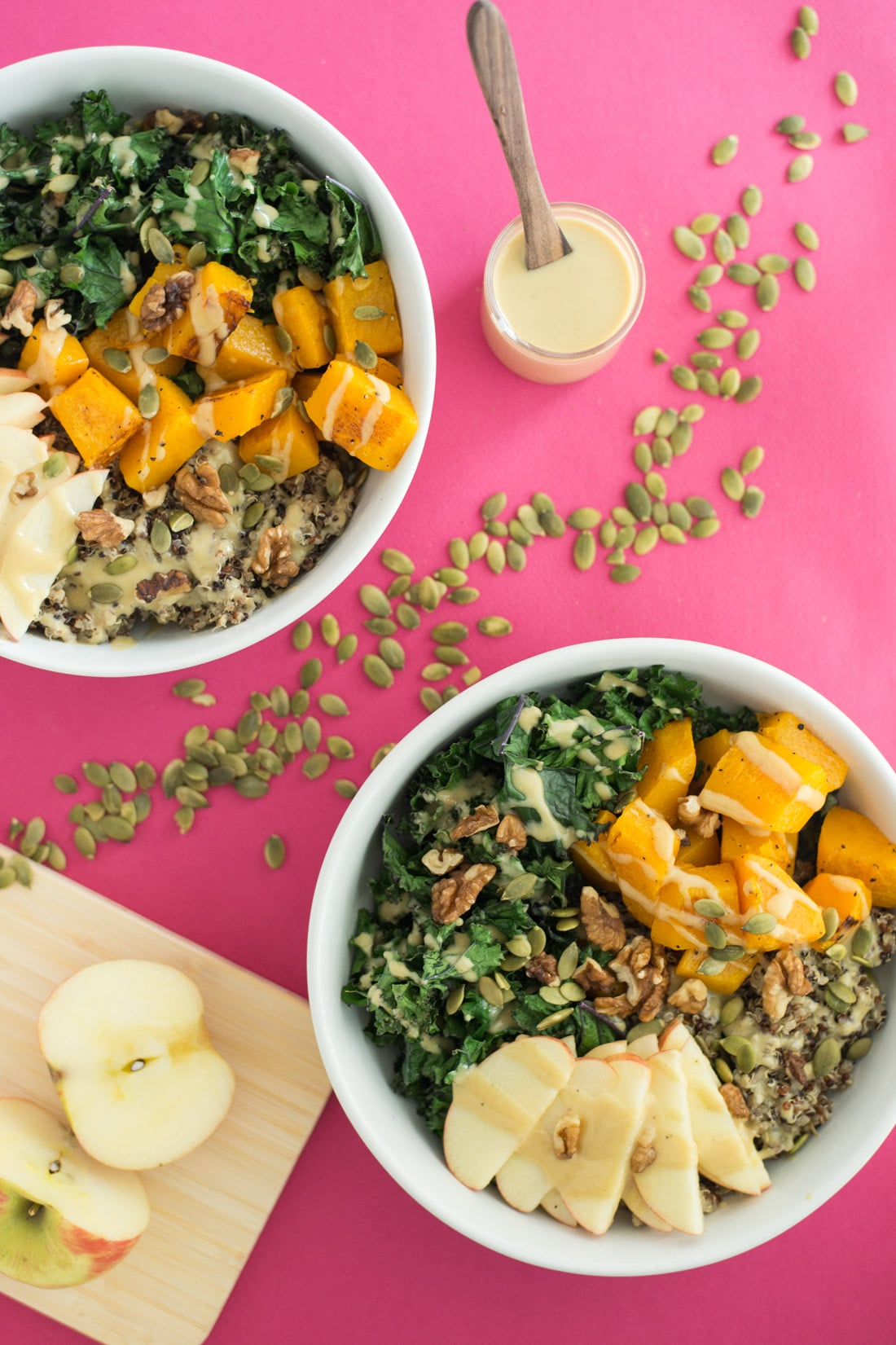 Autumn Buddha Bowls -- Buddha bowls are the perfect wholesome meal that are nourishing and healthy. This buddha bowl recipe is perfect for chilly fall weather. With good for you ingredients like kale and quinoa, you got to give this healthy vegan recipe a try | mindfulavocado