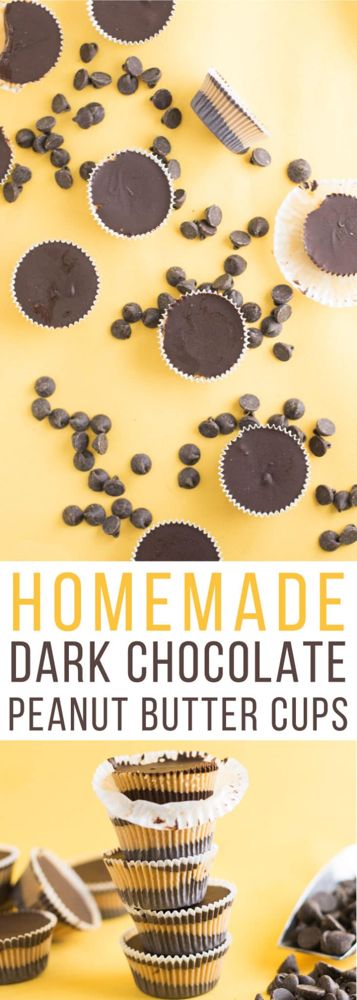 Dark Chocolate Peanut Butter Cups -- These vegan homemade Reese peanut butter cups are made with just a few simple ingredients. The classic combination of chocolate and peanut butter is delicious in this peanut butter cup recipe! | mindfulavocado