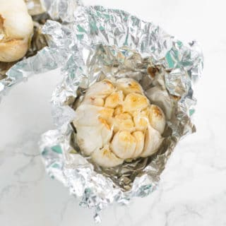 roasted garlic in aluminum foil