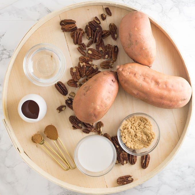 ingredients for vegan sweet potato casserole