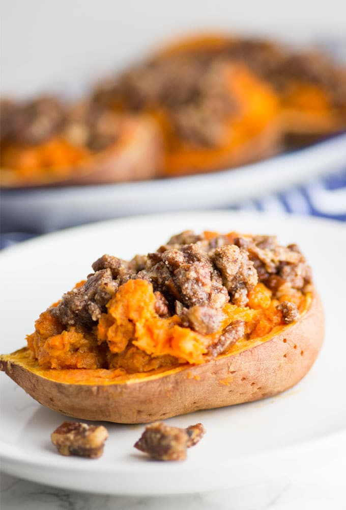 twice baked sweet potato topped with pecan crumble