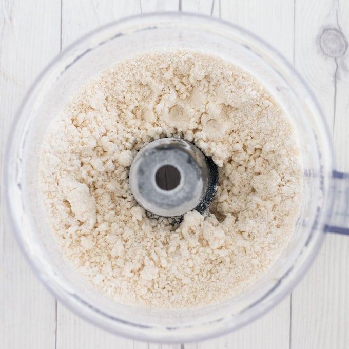 ingredients for vegan pie dough in food processor