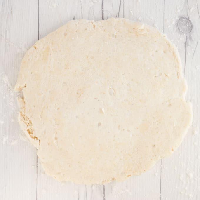 vegan pie dough on white wood