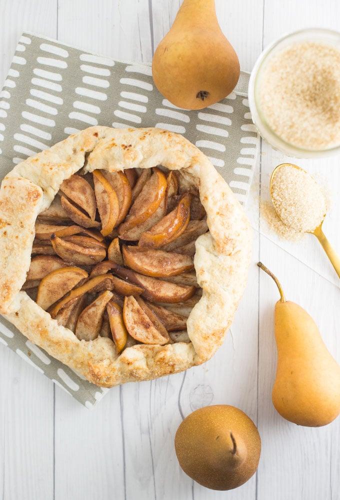 vegan pear galette on white wood