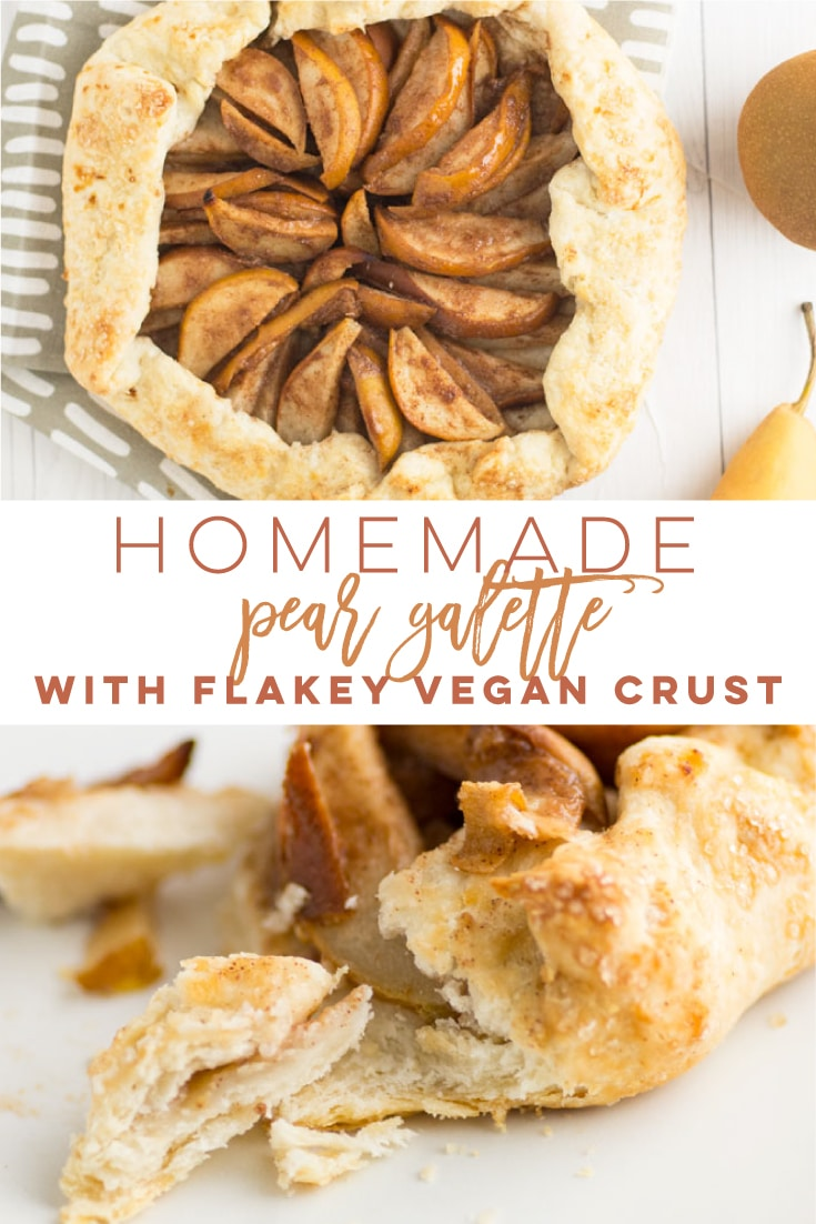 Vegan Pear Galette - Cinnamon pears folded with a vegan flakey crust and baked to perfection! This galette recipe is FULL of Fall flavors and great for the holidays. Make this rustic pie for Thanksgiving for an easy and delicious dessert recipe. #galette #veganbaking #pears #peargalette #veganpie #veganthanksgiving | Mindful Avocado
