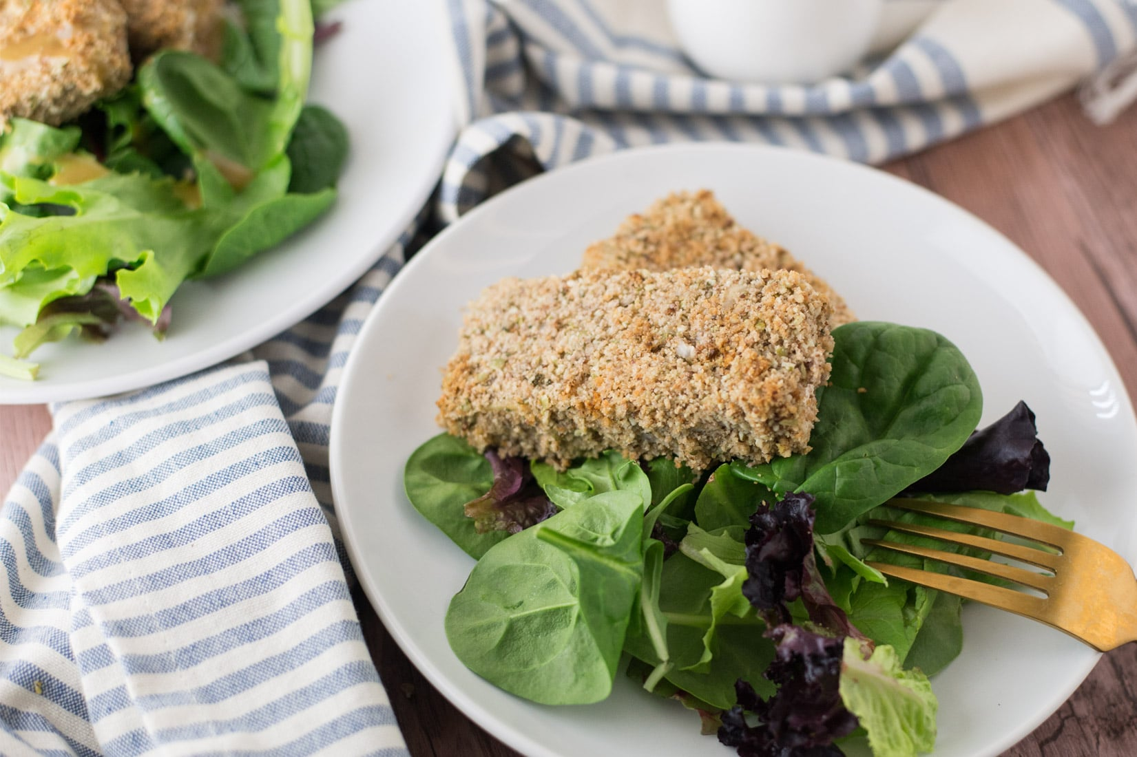 Savory Baked Tofu Filets -- This vegan recipe is a great source of protein and is delicious for lunch or dinner. Breadcrumbs, pecans, pumpkin seeds, and sage make these tofu filets irresistible. | mindfulavocado