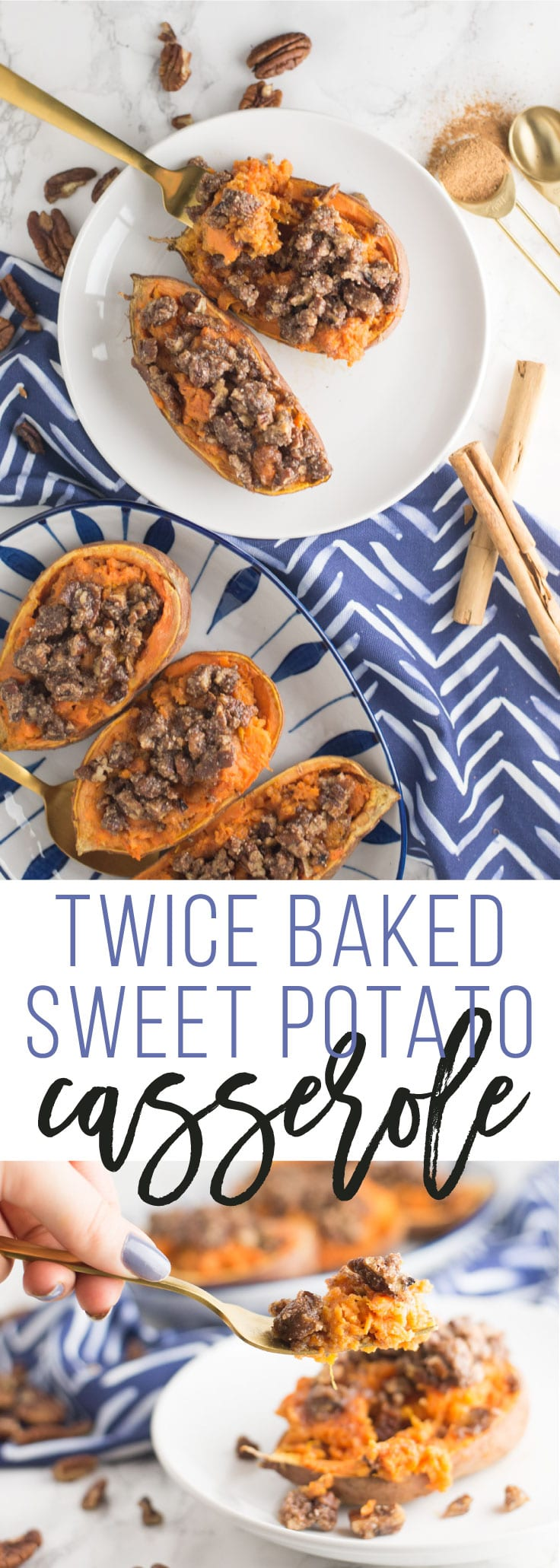 Twice Baked Sweet Potato Casserole -- This indulgent sweet potato casserole recipe is a great side dish for the holidays, or a healthy dessert. Sweet potato mash baked in the skin all topped with a maple pecan crumble, this vegan and gluten free recipe is a crowd pleaser. Made with all delicious whole foods to make your heart and your belly sing! | mindfulavocado