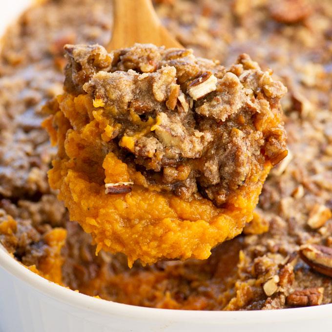 vegan sweet potato casserole with maple pecan crumble