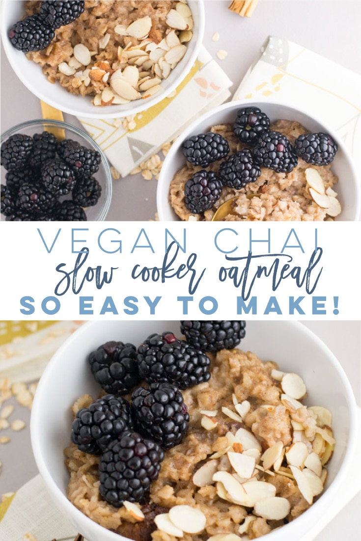 Vegan Slow Cooker Oatmeal -- Oatmeal has never been easier to make thanks to the Crock Pot! Steel-cut oats, almond milk, chai spice, coconut sugar, and maple syrup mixed together and cooked long and slow. Try this healthy and easy breakfast recipe for a delicious start to your day! #slowcookeroatmeal #veganoatmeal #veganbreakfast #healthybreakfast #easy | Mindful Avocado