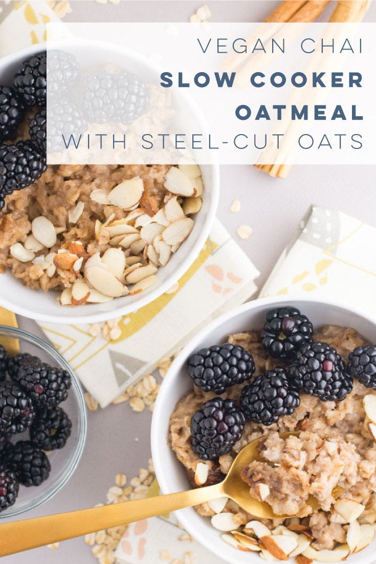Chai slow cooker oatmeal is the most comforting vegan breakfast recipe! Steel cut oats mixed with almond milk, chai spices, and sweetener is the easiest thing to make in your slow cooker! #slowcookeroatmeal #veganoatmeal #veganbreakfast #healthybreakfast #easy | Mindful Avocado