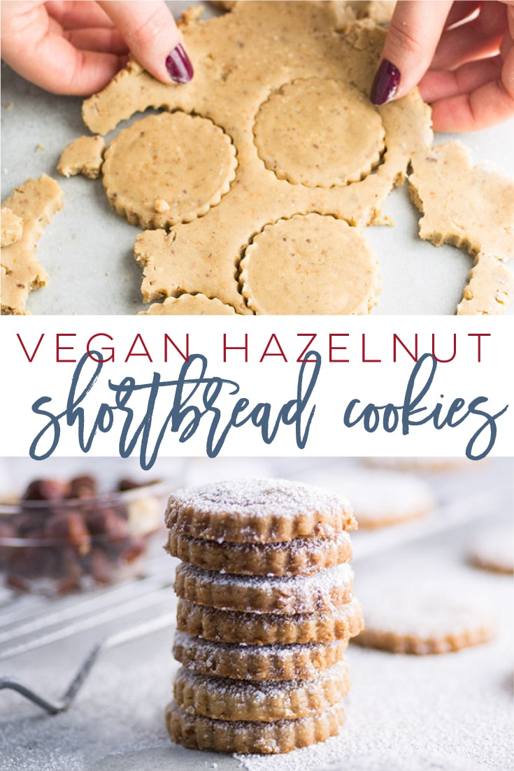 Vegan Shortbread Cookies with Hazelnuts -- This classic shortbread cookie recipe gets a delicious upgrade! Packed with toasted hazelnuts, these cookies are full of flavor. Try this easy vegan cookie recipe for the holidays. #vegancookies #veganbaking #christmascookies #shortbread | Mindful Avocado