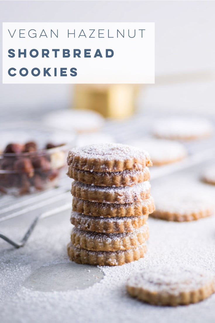 Vegan shortbread cookies with toasted hazelnuts only require a few ingredients and are packed with flavor. Easy to make and perfect for any holiday occasion. #vegancookies #veganbaking #christmascookies #shortbread | Mindful Avocado