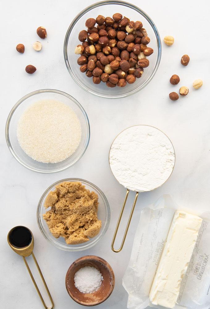 hazelnuts, sugar, vegan butter, vanilla