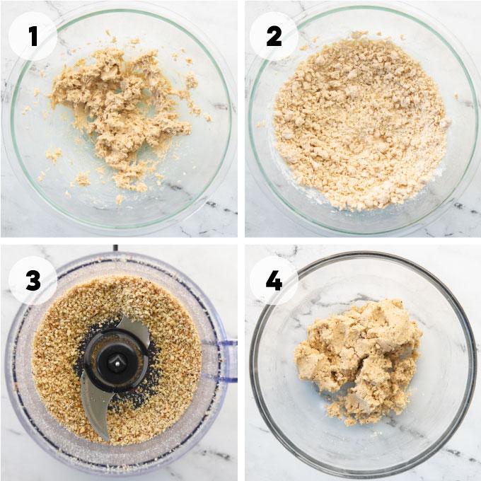 four steps for making shortbread dough