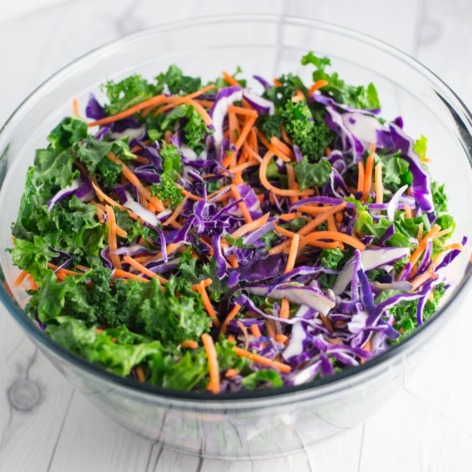 salad bowl with kale, carrots, and purple cabbage