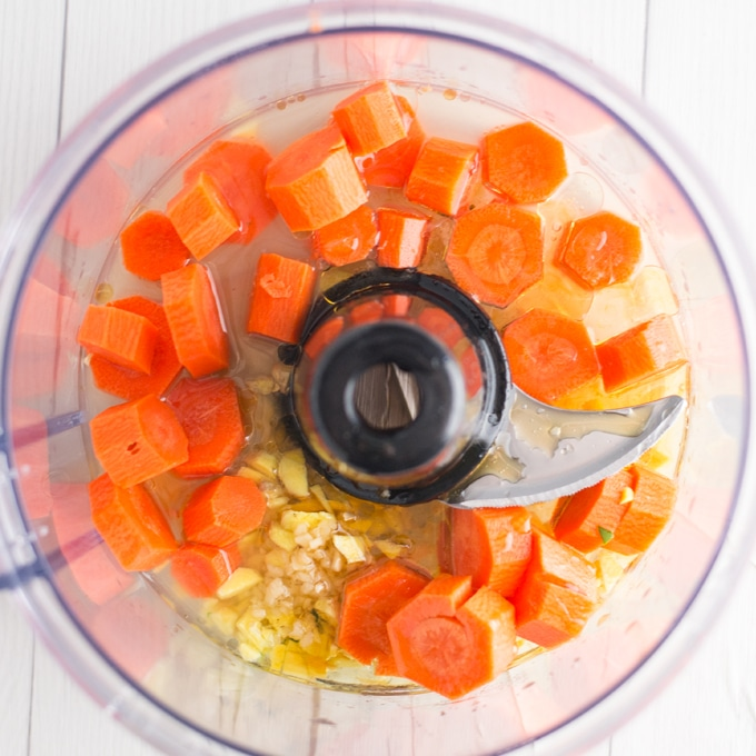 ingredients for carrot ginger dressing in food processor