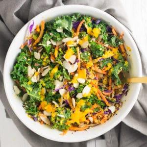 vegan kale quinoa salad with carrot ginger dressing