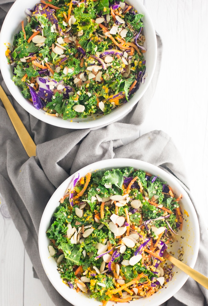 quinoa kale vegan salad with carrots and cabbage
