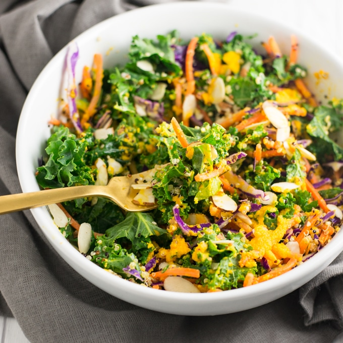 kale quinoa salad with carrots and cabbage