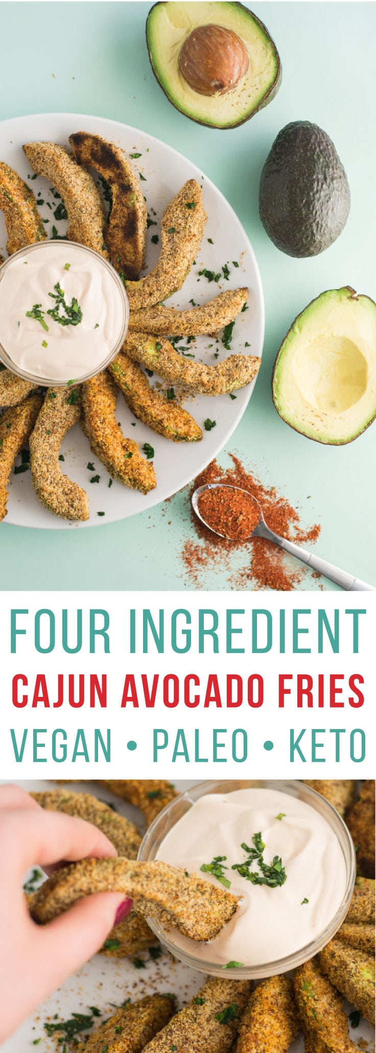Avocado Fries -- These avocado fries only require four ingredients and can be baked to perfection in 15 minutes! Almond milk, almond meal, cajun seasoning, and avocados make this snack recipe totally vegan, paleo, gluten-free and keto! #healthy #vegan #paleo #keto #cleaneating #glutenfree | mindfulavocado