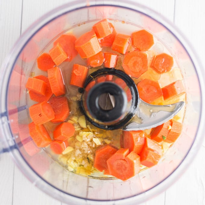 carrots, ginger, rice vinegar, olive oil, and agave in food processor