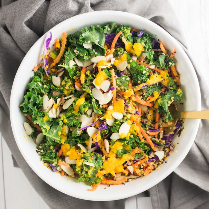 Kale Quinoa Salad with Carrot Ginger Dressing