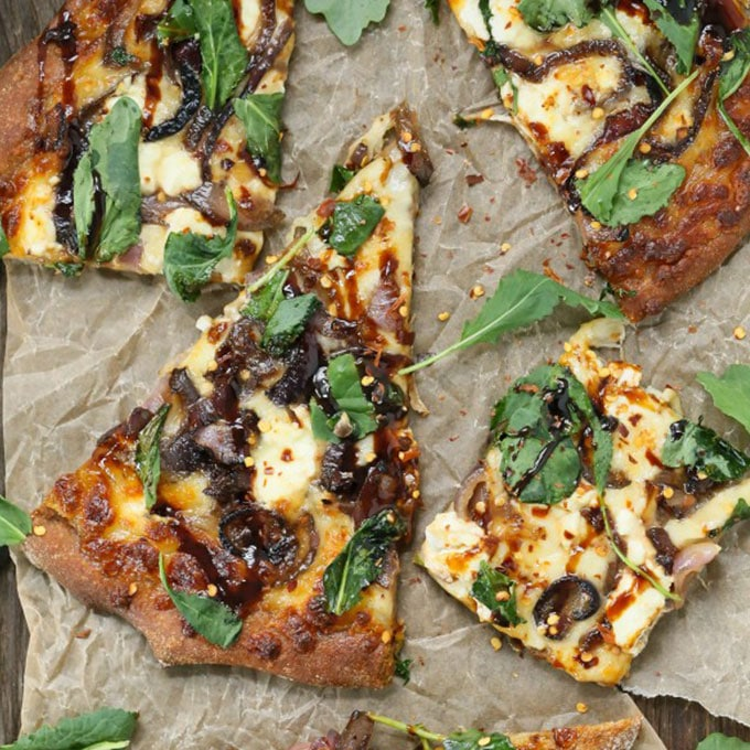caramelized kale, onion, and goat cheese pizza