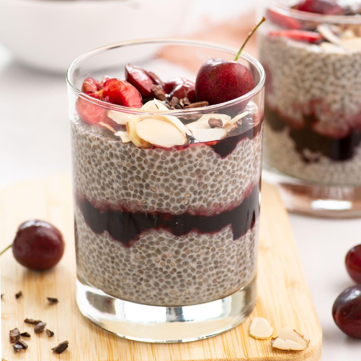 vegan chocolate cherry chia pudding parfaits with chocolate chips
