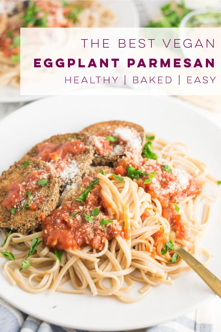 Vegan Eggplant Parmesan -- This eggplant parmesan recipe is as easy as they get! Only 5 ingredients are required to make this egg and dairy-free baked eggplant. This healthy recipe is perfect for an easy dinner! #healthy #cleaneating #vegandinner #vegetarian #italianfood - mindfulavocado