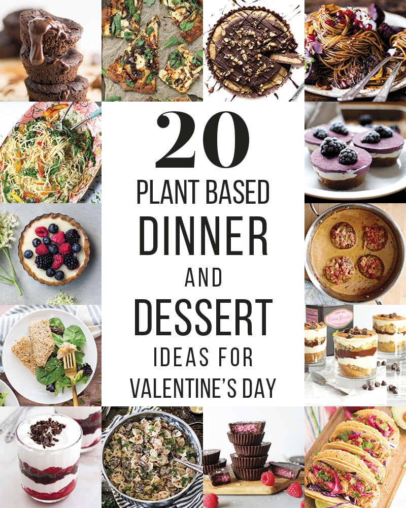 20 Valentine's Day Dinner and Dessert Ideas -- These Valentine's Day recipes are all vegetarian but not short of flavor! Create a delicious dinner or dessert this Valentine's Day for your loved one for a date night in to remember. #vegan #vegetarian #dinner #dessert #valentinesday | mindfulavocado