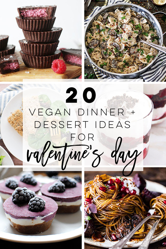20 Valentine's Day Dinner and Dessert Ideas -- These Valentine's Day recipes are all vegetarian with vegan options, but not short of flavor! Create a delicious dinner or dessert this Valentine's Day for your loved one for a date night in to remember. #vegan #vegetarian #dinner #dessert #valentinesday | mindfulavocado