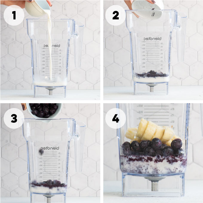 pouring ingredients for acai smoothie into blender