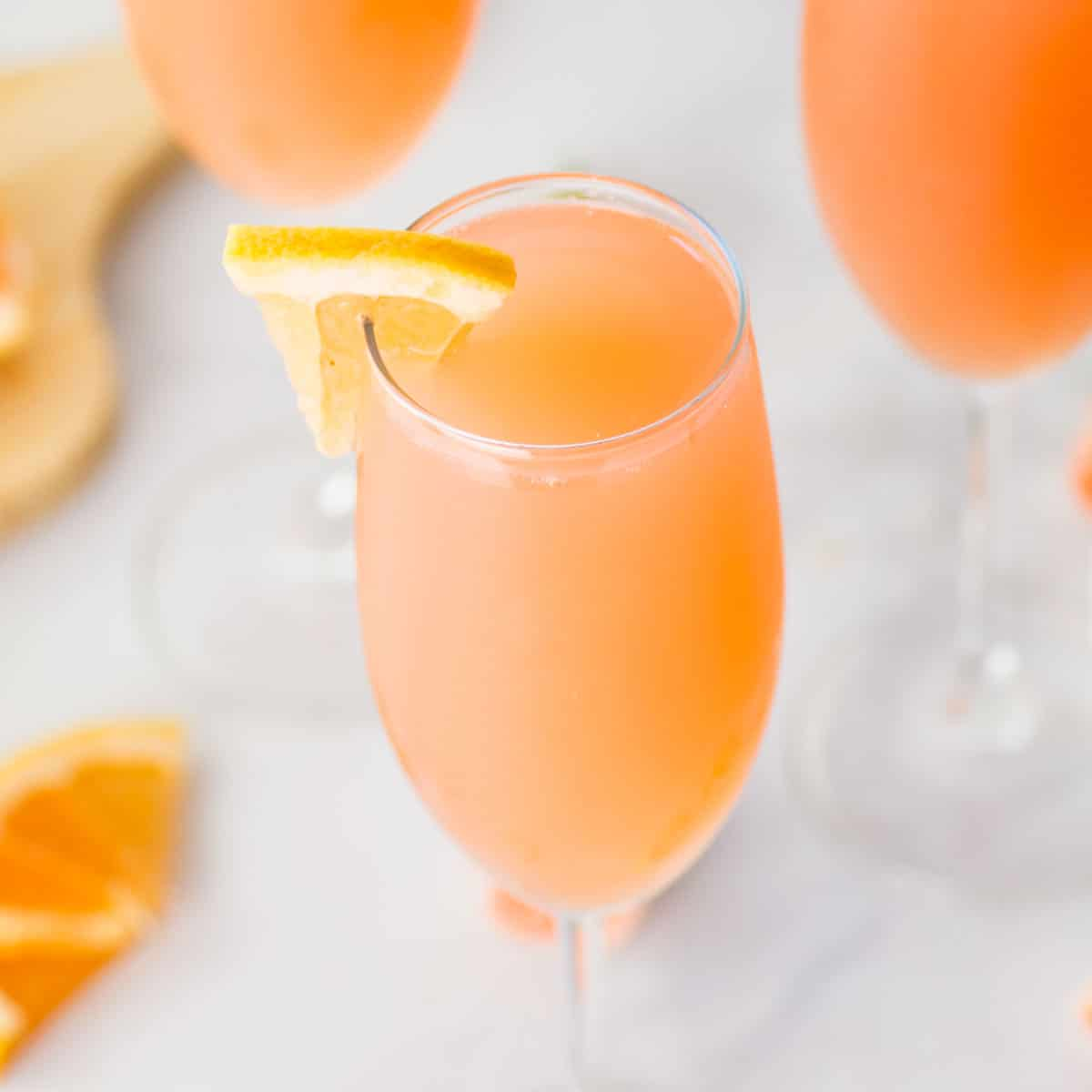 rose mimosa with grapefruit juice