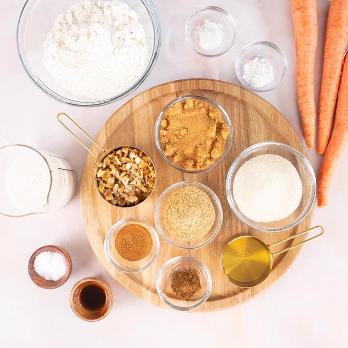 ingredients for vegan carrot cake