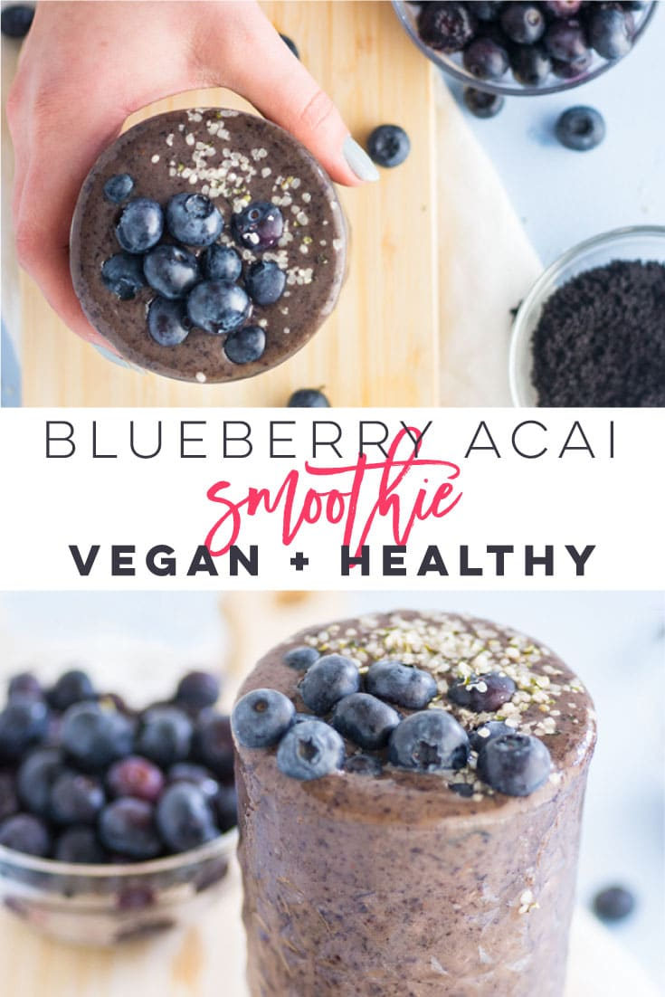 Simple Blueberry Acai Smoothie -- This simple blueberry acai smoothie is so easy to make and only requires 4 ingredients. Simply toss all your ingredients into a blender to make this fool-proof recipe. This thick and creamy smoothie is a healthy way to kickstart your day! #vegan #vegetarian #cleaneating #glutenfree #smoothie #healthy - mindfulavocado