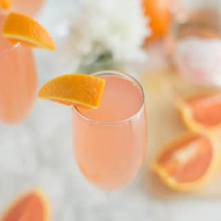 rose grapefruit mimosa with orange slices