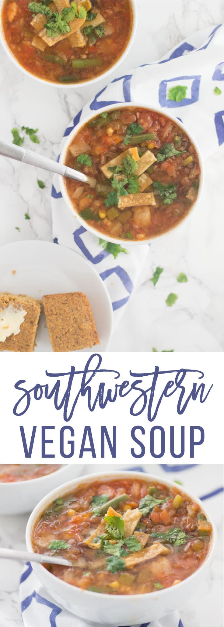 Vegan Southwestern Soup -- This classic soup recipe has all the delicious flavors, yet it's completely plant-based! Tons of vegetables, seasonings, black beans, and a fresh tomato broth makes this soup so TASTY. Pair with cornbread for the ultimate meal! #cleaneating #healthy #soup #vegann #vegetarian #glutenfree #plantbased - mindfulavocao