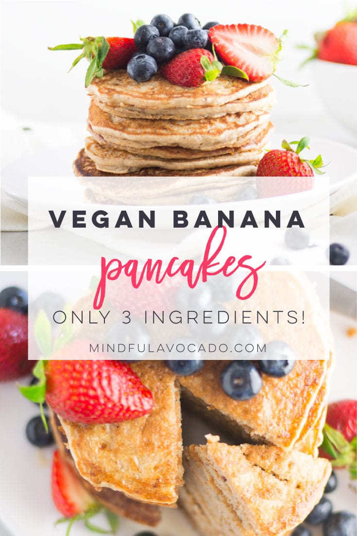 Vegan banana pancakes are the BEST easy breakfast recipe. Pancake mix, almond milk, and mashed bananas are all it takes to make this pancake recipe. #breakfast #brunch #vegan #glutenfree #cleaneating #healthy #plantbased - mindfulavocado