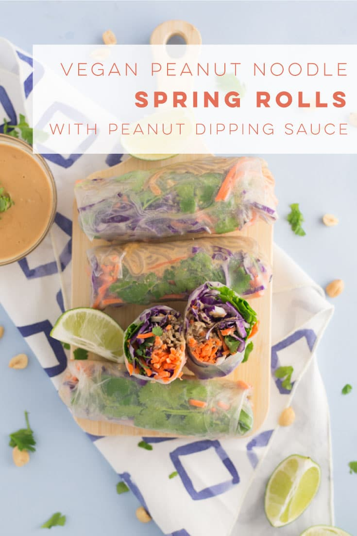 Peanut noodle spring rolls are the perfect healthy vegan lunch recipe to replace your salad! Bring these to work for a delicious meal. Packed with veggies and saucy peanut noodles! #vegan #vegetarian #cleaneating #lunch #dinner #snack #asianfood #springrolls #peanutnoodles - mindfulavocado