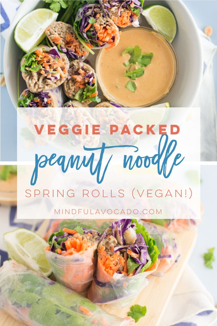 Vegetable packed peanut noodle spring rolls -- Soba noodles covered in a peanut sauce wrapped up with veggies in a spring roll! They are the perfect healthy vegan lunch to take to work! #vegan #vegetarian #cleaneating #lunch #dinner #snack #asianfood #springrolls #peanutnoodles | mindfulavocado